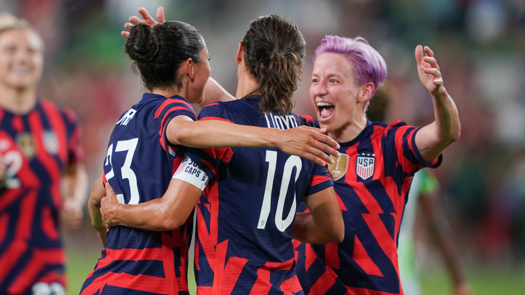 players celebrating after scoring during Nigeria v United States in the 2021 WNT Summer Series