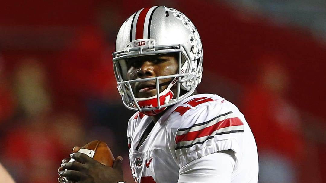 PISCATAWAY, NJ - OCTOBER 24: Quarterback Cardale Jones #12 of the Ohio State Buckeyes in action against the Rutgers Scarlet Knights during a game at High Point Solutions Stadium on October 24, 2015 in Piscataway, New Jersey. (Photo by Rich Schultz /Getty Images)