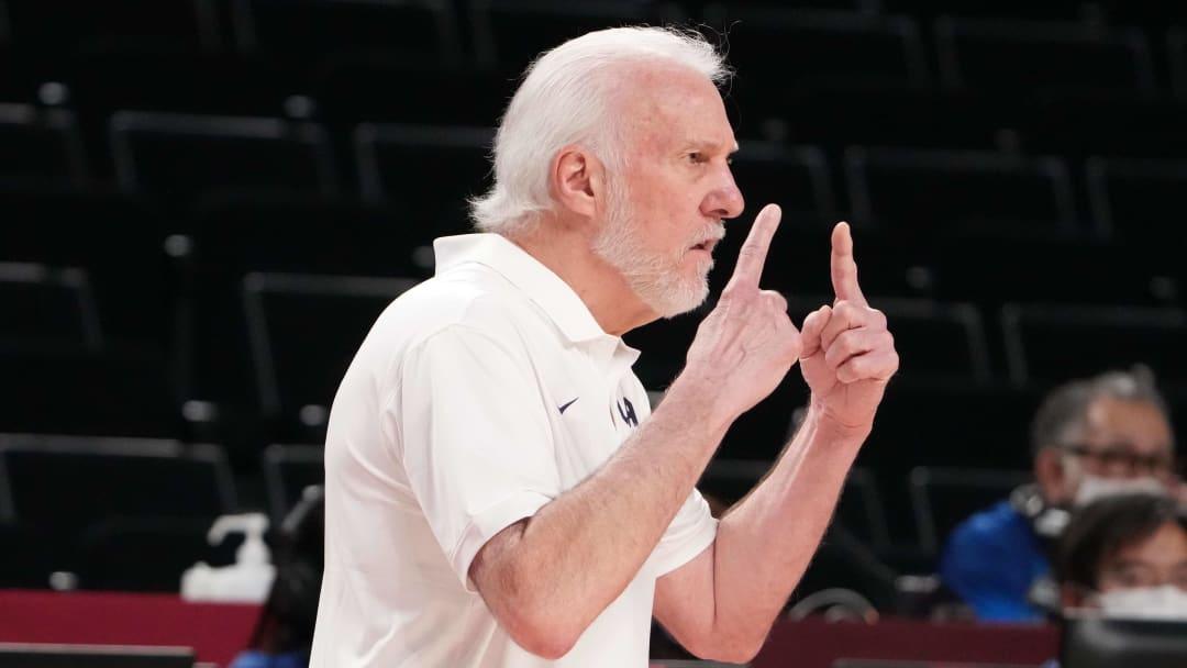 Aug 3, 2021; Saitama, Japan; USA head coach Gregg Popovich reacts on the bench as USA plays Spain
