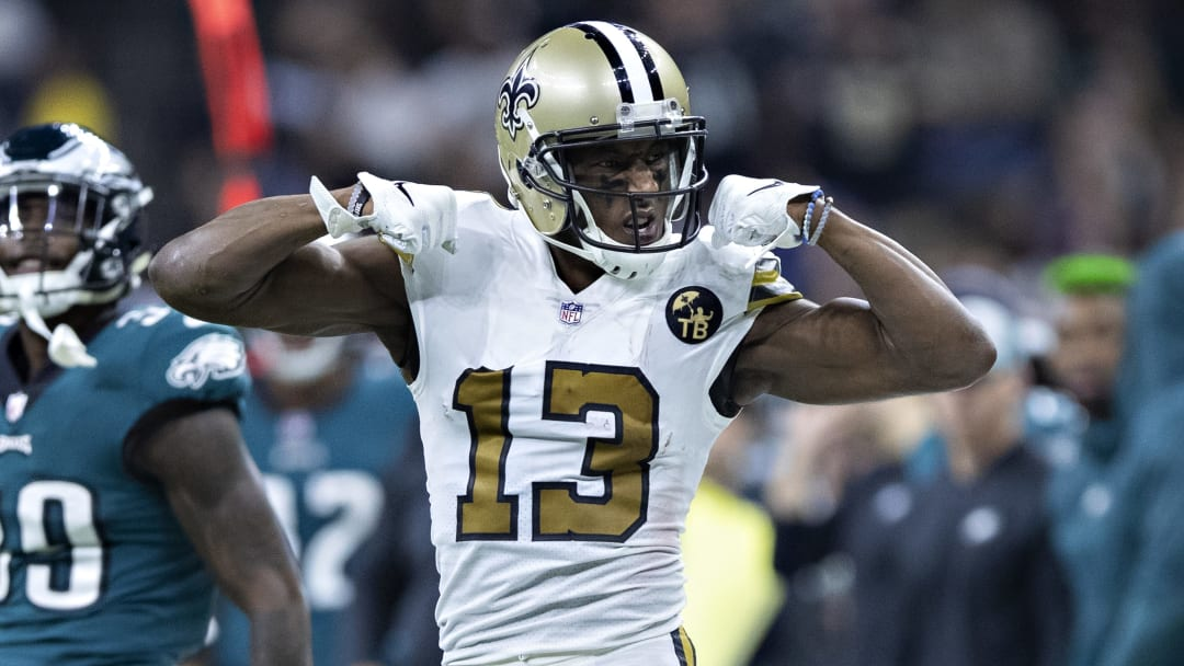 NEW ORLEANS, LA - NOVEMBER 18:  Michael Thomas #13 of the New Orleans Saints flexes his muscles after a big catch during a game against the Philadelphia Eagles at Mercedes-Benz Superdome on November 18, 2018 in New Orleans, Louisiana.  The Saints defeated the Eagles 48-7.  (Photo by Wesley Hitt/Getty Images)