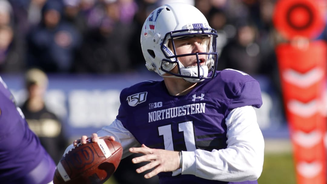 EVANSTON, ILLINOIS - NOVEMBER 09: Aidan Smith #11 of the Northwestern Wildcats throws a pass in the game against the Purdue Boilermakers at Ryan Field on November 09, 2019 in Evanston, Illinois. (Photo by Justin Casterline/Getty Images)