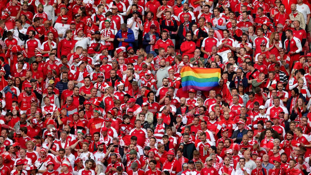 A rainbow flag flies in Denmark's game against Russia