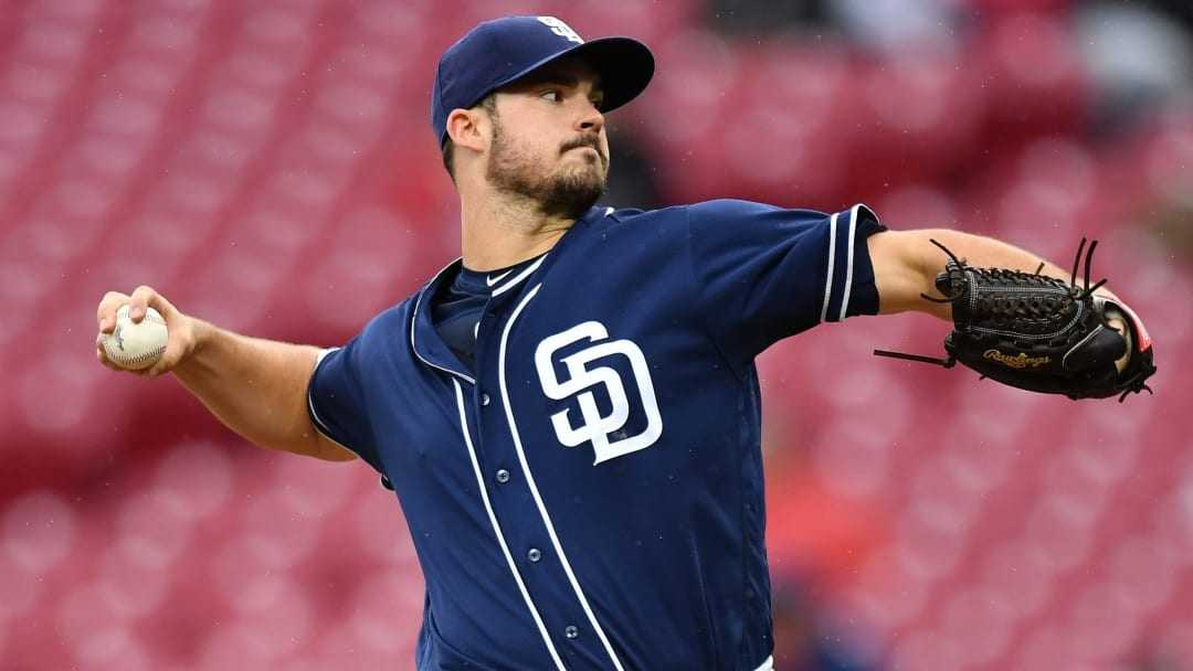 CINCINNATI, OH - SEPTEMBER 9:  Jacob Nix #63 of the San Diego Padres pitches in the second inning against the Cincinnati Reds at Great American Ball Park on September 9, 2018 in Cincinnati, Ohio.  (Photo by Jamie Sabau/Getty Images)