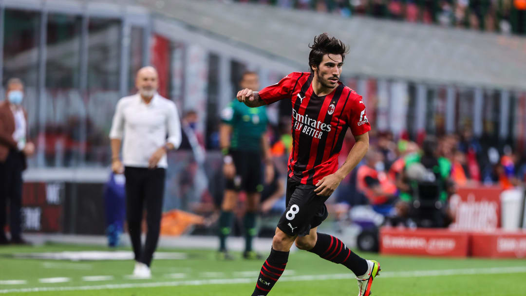 Sandro Tonali of AC Milan seen in action during the Serie A...