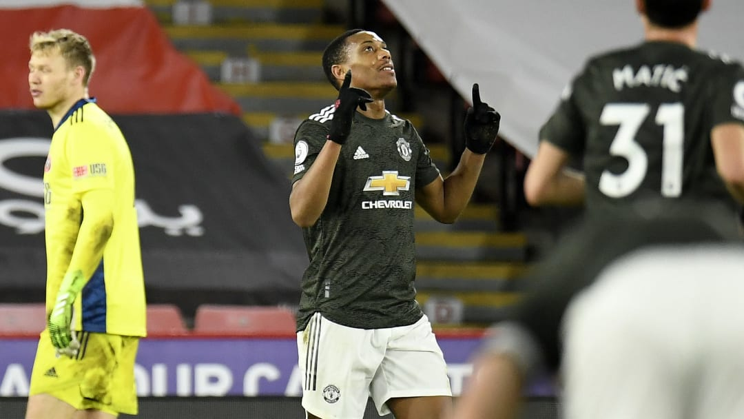Martial scored his first Premier League goal of the season against Sheffield United