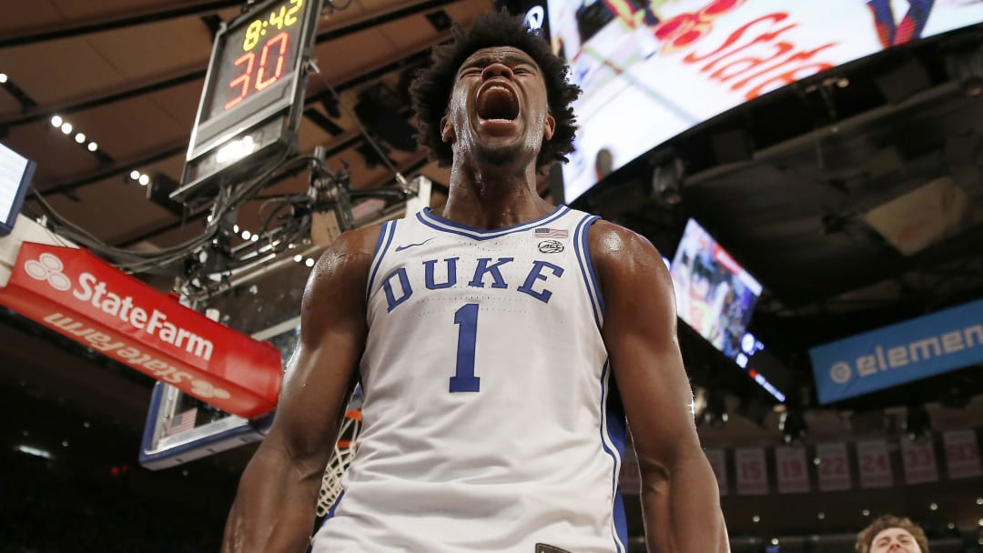 NEW YORK, NEW YORK - NOVEMBER 05:  Vernon Carey Jr. #1 of the Duke Blue Devils celebrates after he drew the foul in the second half against the Kansas Jayhawks during the State Farm Champions Classic at Madison Square Garden on November 05, 2019 in New York City. (Photo by Elsa/Getty Images)