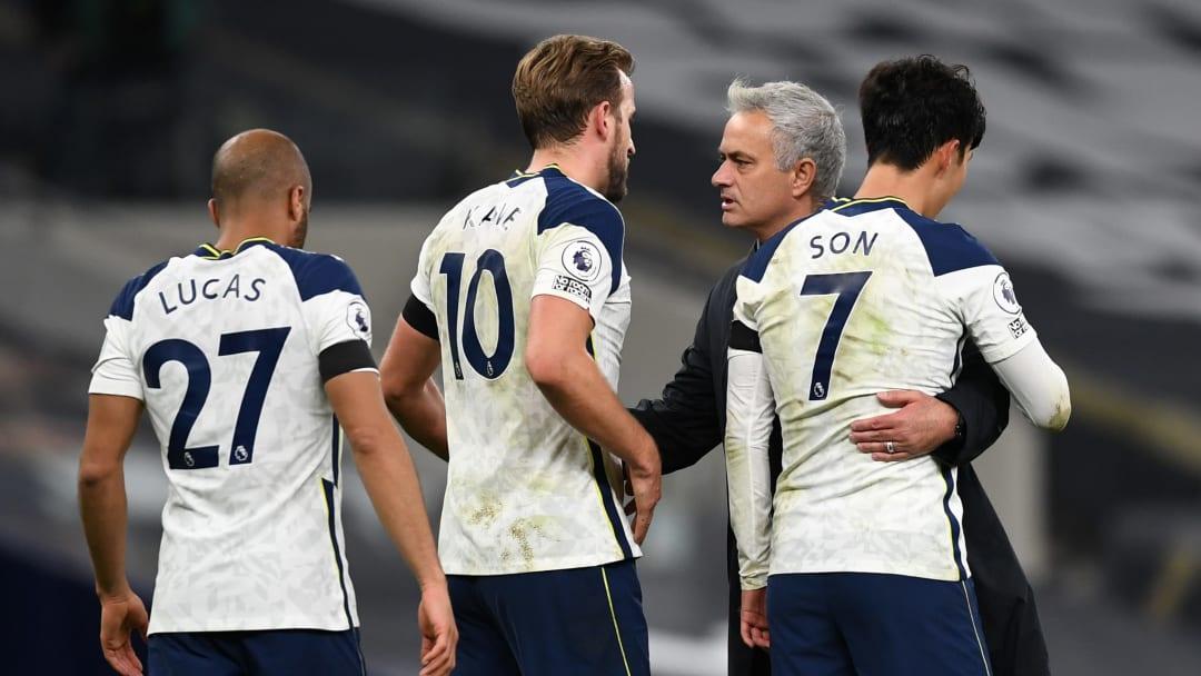 Lucas Moura, Harry Kane, Jose Mourinho, Heung-Min Son