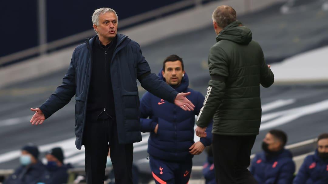 Jose Mourinho and Ole Gunnar Solskjaer exchange a few words