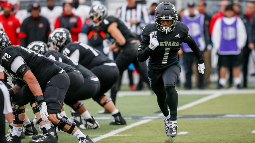 Nevada RB Berdale Robins starts in motion before a play in a Week 14 game against UNLV.