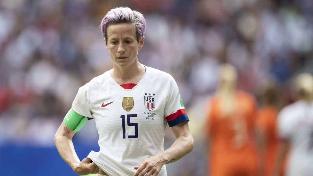 LYON, FRANCE - JULY 07: Megan Rapinoe of the USA reacts during the 2019 FIFA Women's World Cup France Final match between The United State of America and The Netherlands at Stade de Lyon on July 07, 2019 in Lyon, France. (Photo by Maja Hitij/Getty Images)