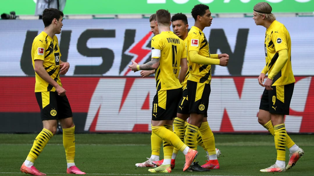 Haaland celebrating the opening goal with his Dortmund teammates