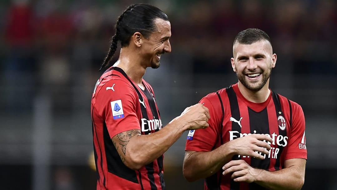 Zlatan Ibrahimovic (L) of AC Milan and Ante Rebic of AC...