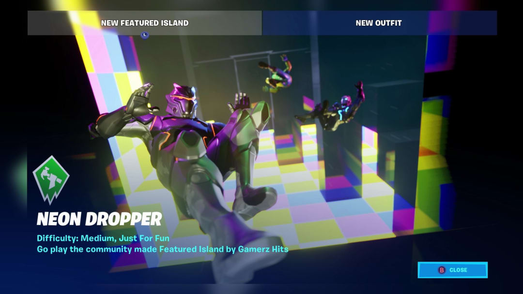 Neon Dropper Fortnite Code lets players load up the newest Featured Island in their game that tests players most unused skill...falling.