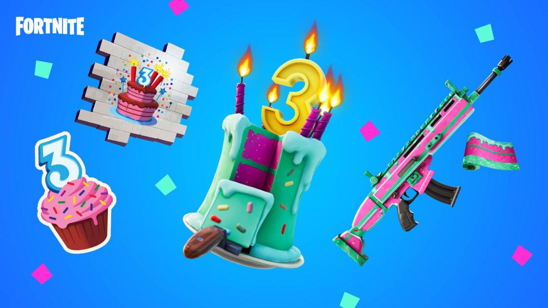 Fortnite Birthday Bash rewards include a spray, an emoticon, a wrap and a back bling.