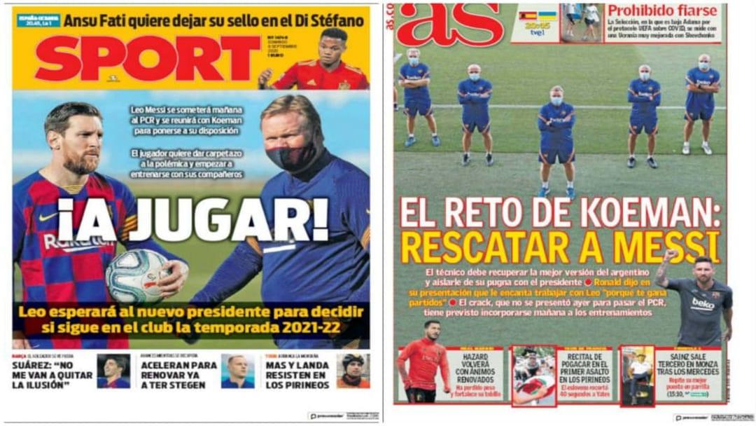 Las portadas de los medios deportivos en España