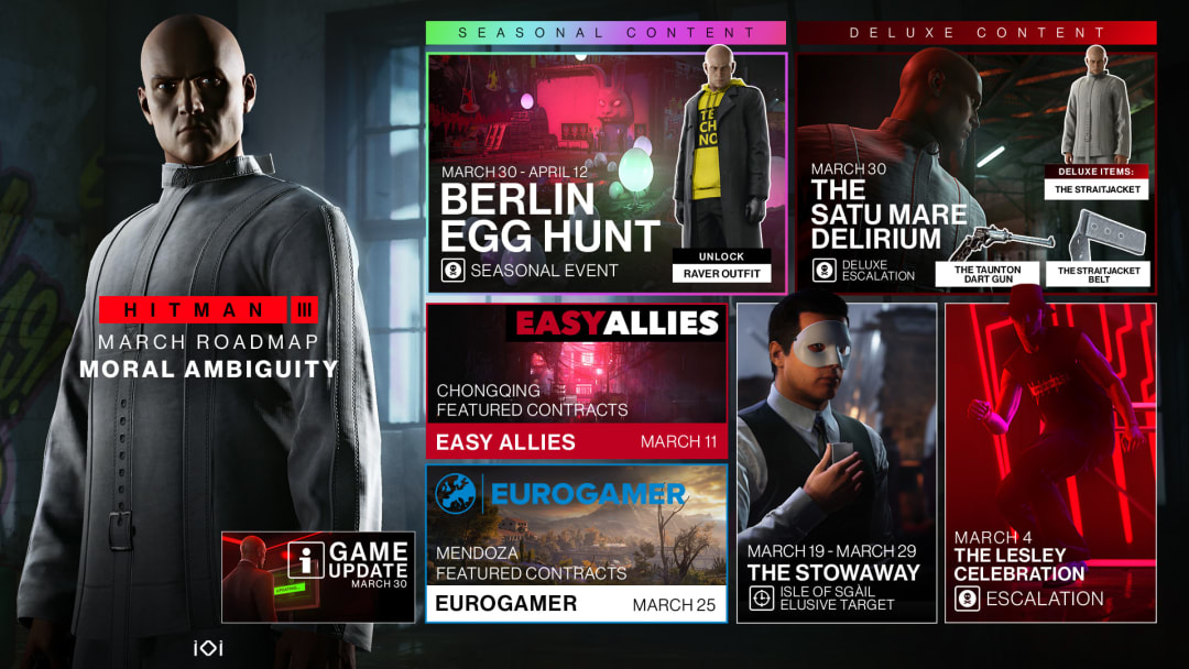 IO Interactive has released a full roadmap of all the items and content coming to Hitman 3 this March 2021.