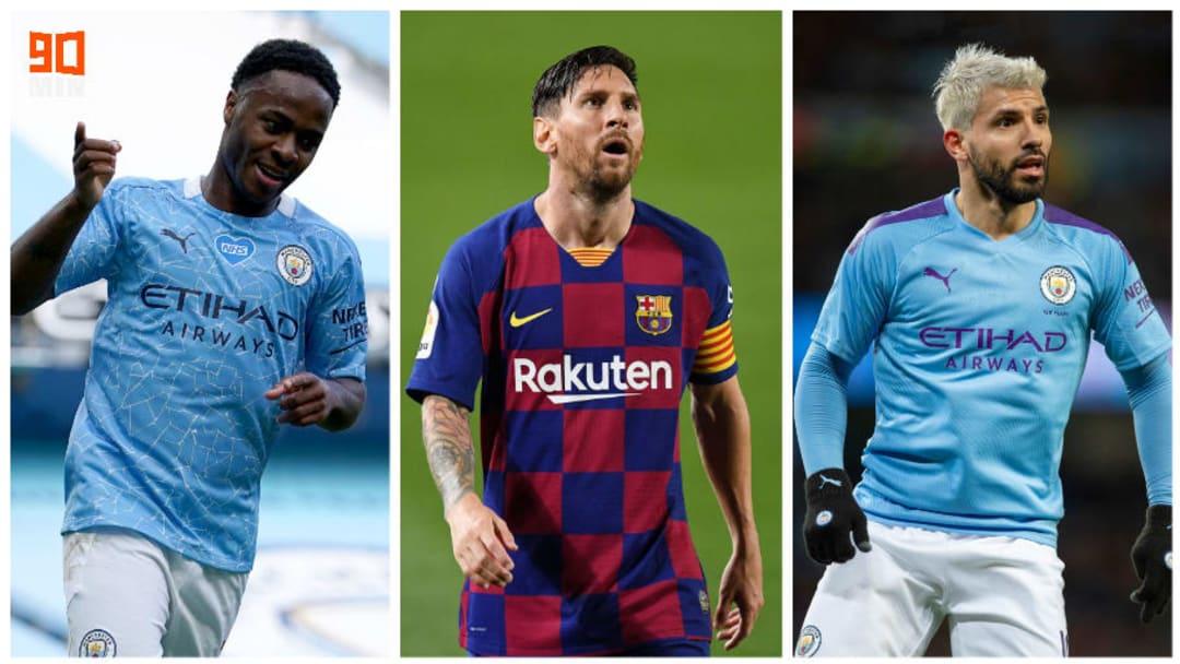 Raheem Sterling, Leo Messi et Sergio Agüero.