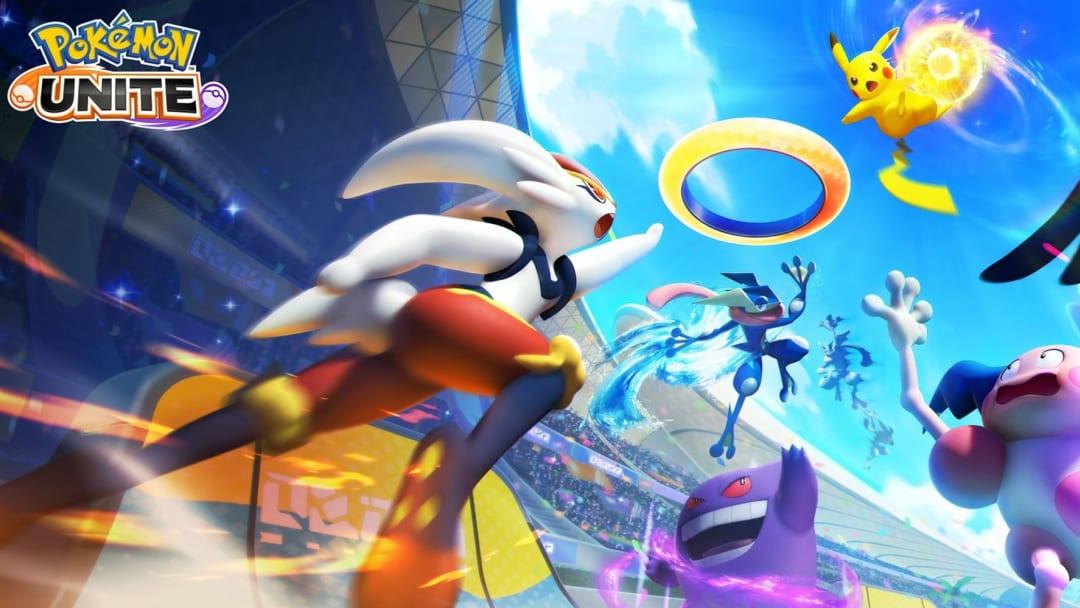Pokemon Unite promo art featuring Cnderace, Greninja, Gengar, Pikachu, and Mr. Mime