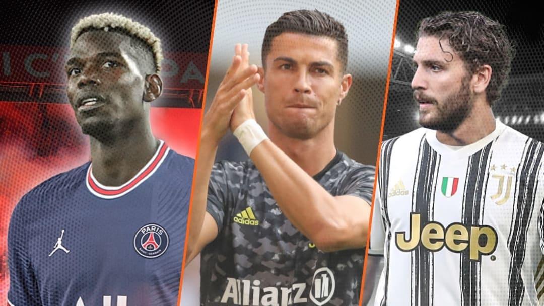 Paul Pogba, Cristiano Ronaldo et Manuel Locatelli.