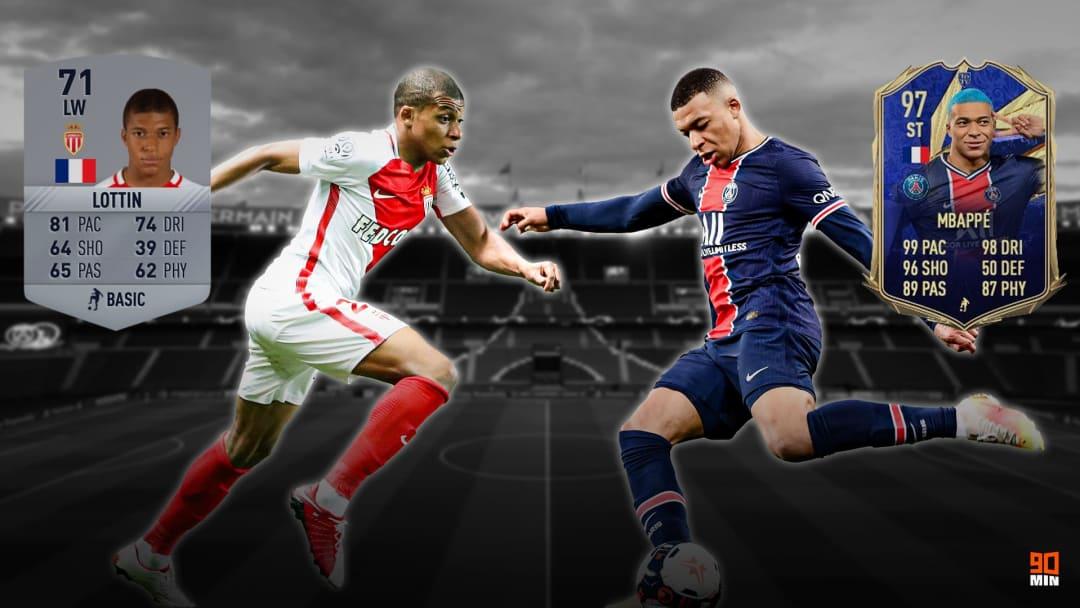 Kylian Mbappé nella sua versione con overall più basso e più alto su FIFA Ultimate Team