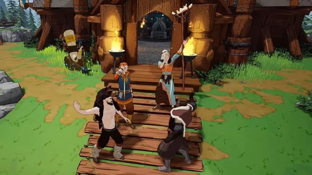 No couch co-op in Tribes of Midgard, online is your best bet