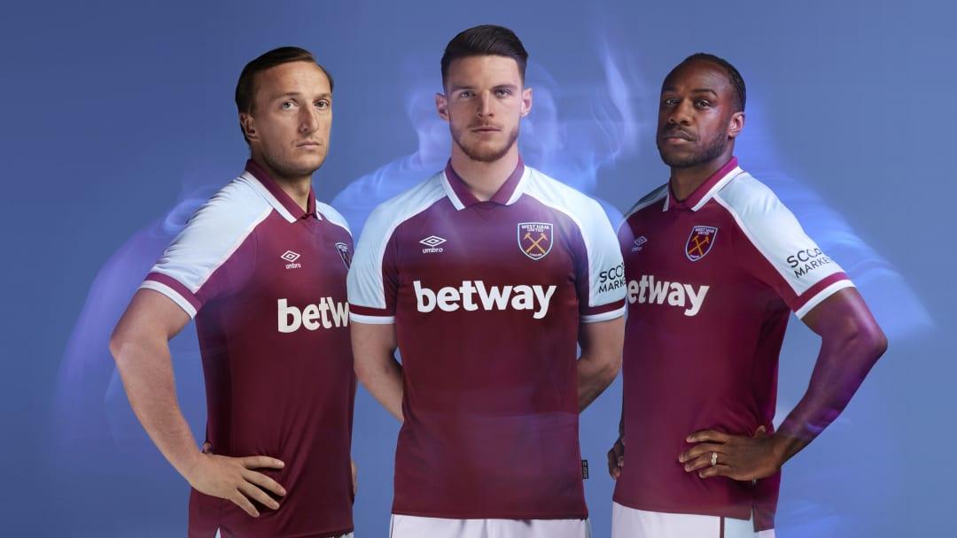 Mark Noble, Declan Rice and Michail Antonio launching West Ham's new kit