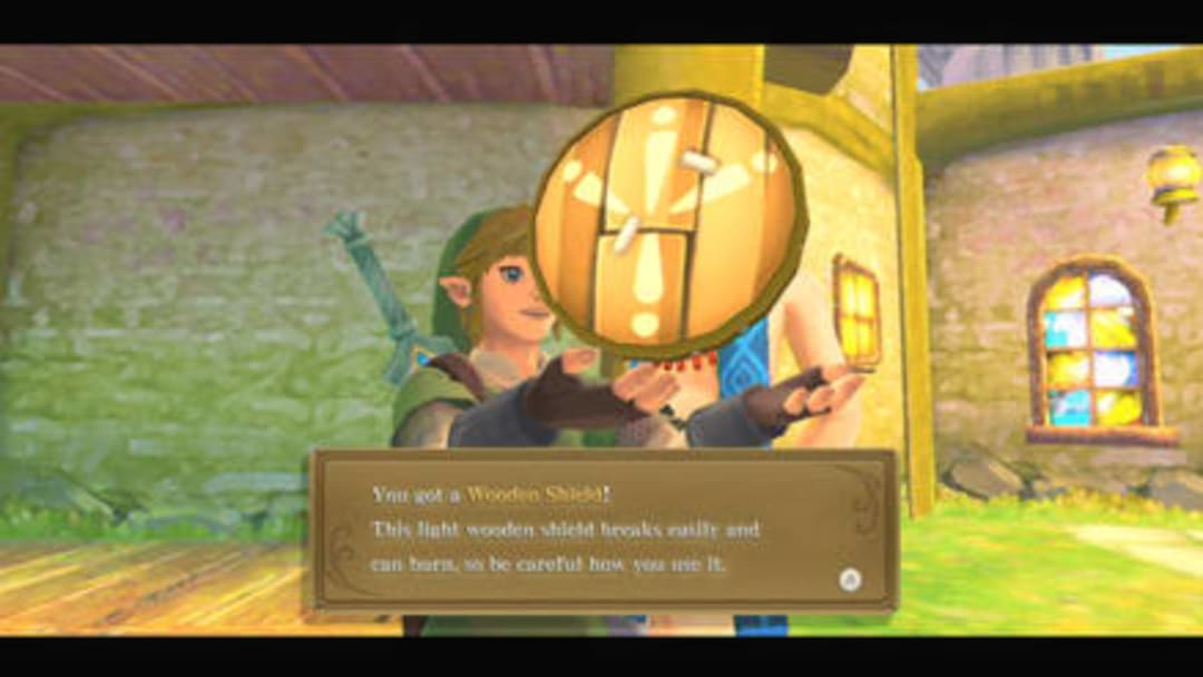 Link obtaining his first Wooden Shield from Instructor Owlan, early on in the main story