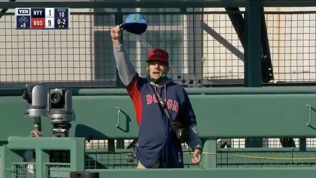 A Red Sox fan sneaks into Fenway Park