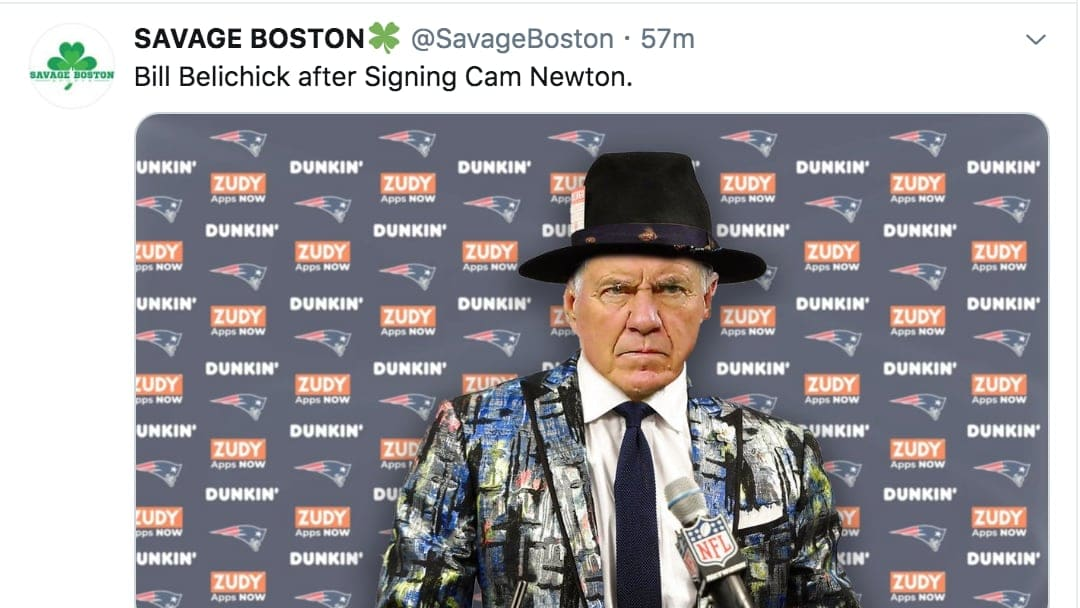 Twitter flipped out when Cam Newton signed with the New England Patriots