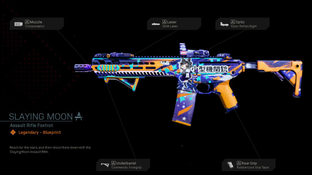 Slaying Moon Warzone blueprint is a legendary tier weapon skin for the M13 assault rifle.
