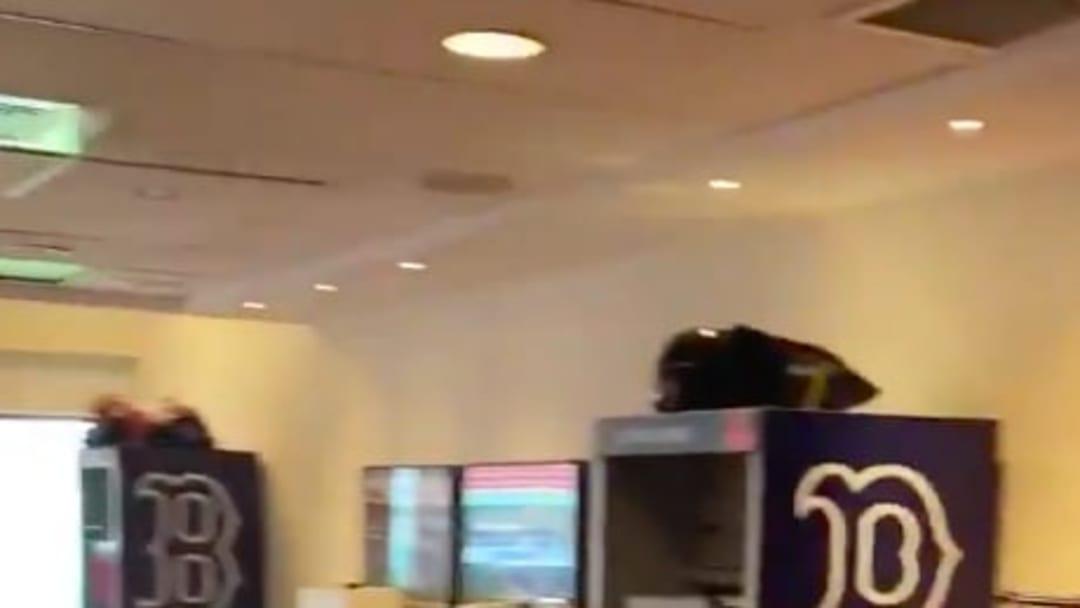 Boston infielder Michael Chavis revealed the team's social distancing locker rooms.