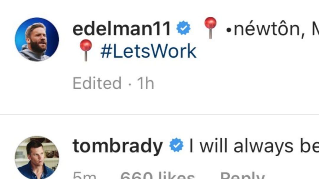 Tom Brady weirdly commented on Julian Edelman's Instagram post in which he welcomed Cam Newton to New England.