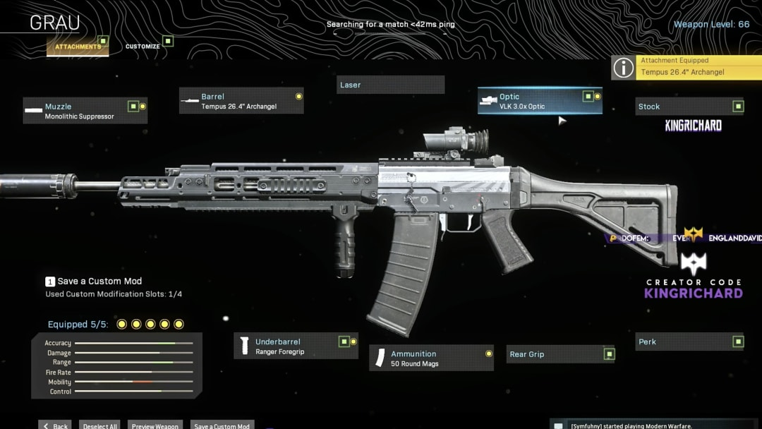 Kingrichard Warzone loadout is made for long-range engagements and is great for slower players.