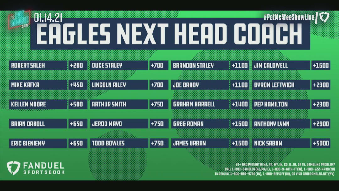Eagles Next Head Coach Odds - The Pat McAfee Show