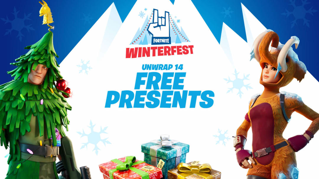 Which presents have skins in Fornite's Winterfest event?