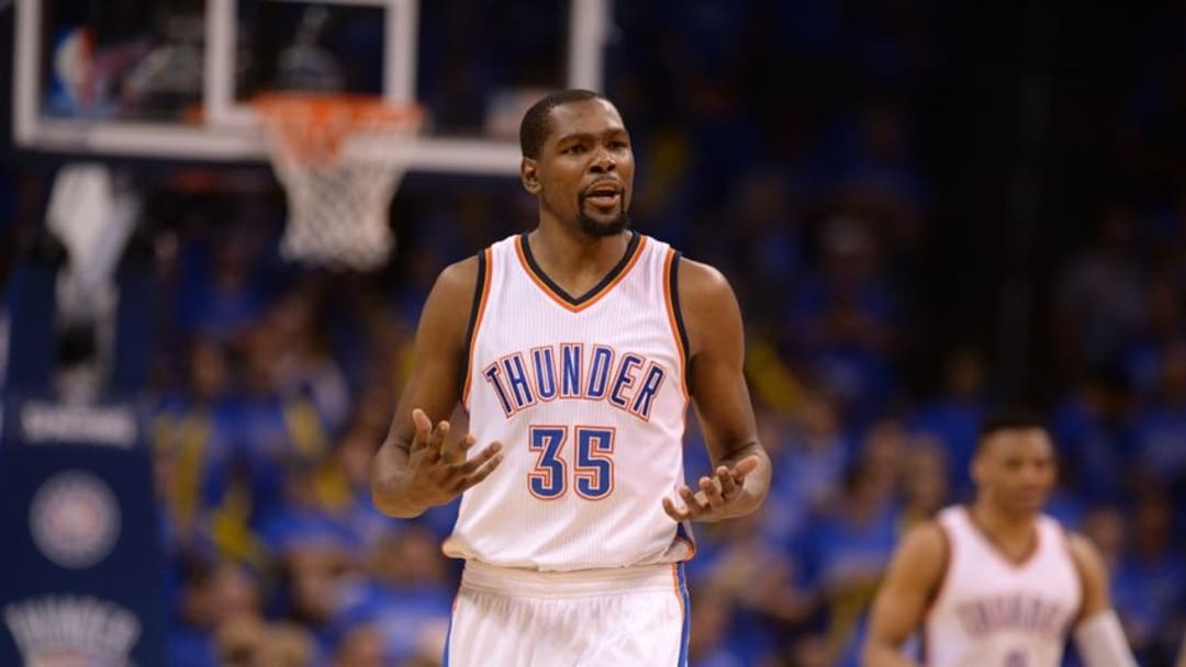 May 28, 2016; Oklahoma City, OK, USA; Oklahoma City Thunder forward Kevin Durant (35) reacts to a call in action against the Golden State Warriors during the first quarter in game six of the Western conference finals of the NBA Playoffs at Chesapeake Energy Arena. Mandatory Credit: Mark D. Smith-USA TODAY Sports