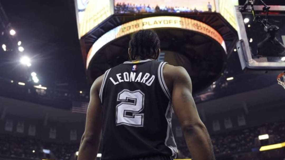 Apr 24, 2016; Memphis, TN, USA; San Antonio Spurs forward Kawhi Leonard (2) during the second half against the Memphis Grizzlies in game four of the first round of the NBA Playoffs at FedExForum. San Antonio Spurs defeated the Memphis Grizzlies 116 - 95. Mandatory Credit: Justin Ford-USA TODAY Sports