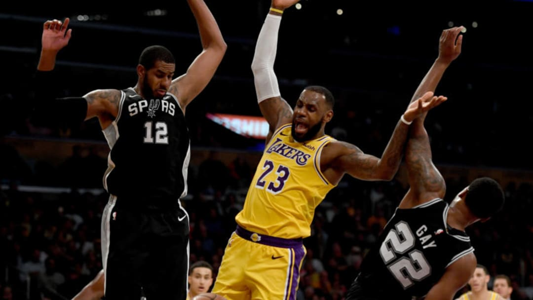 LOS ANGELES, CA - OCTOBER 22: The Lakers' LeBron James #23 looks for the foul call as Spurs' LaMarcus Aldridge #12 and Rudy Gay #22 defend during their game at the Staples Center on Mon. Oct. 22, 2018. The Spurs defeated the Lakers 143-142 in overtime. (Photo by Hans Gutknecht/Digital First Media/Los Angeles Daily News via Getty Images)