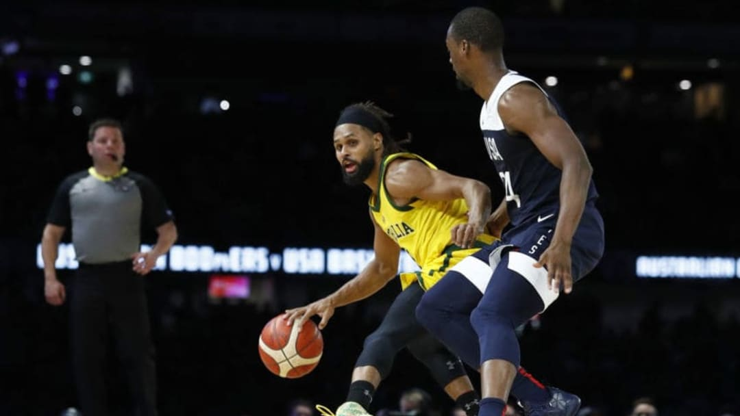 MELBOURNE, AUSTRALIA - AUGUST 24: Patty Mills of the Boomers runs with the ball during game two of the International Basketball series between the Australian Boomers and United States of America at Marvel Stadium on August 24, 2019 in Melbourne, Australia. (Photo by Daniel Pockett/Getty Images)