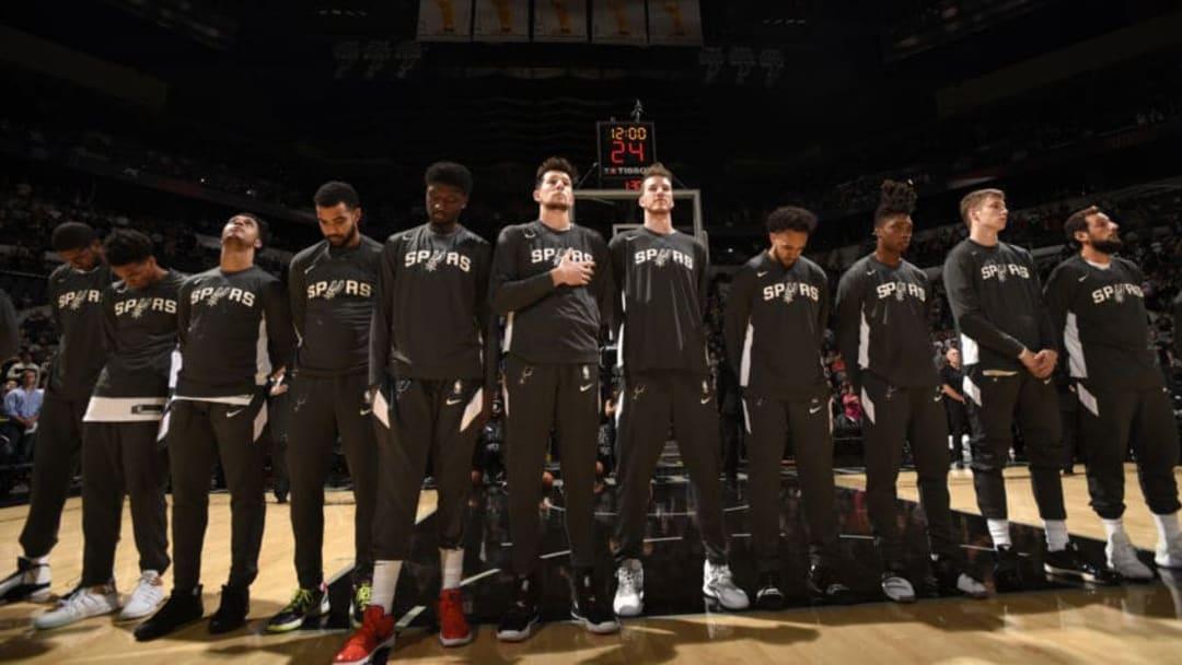 SAN ANTONIO, TX - OCTOBER 18: The San Antonio Spurs. (Photos by Logan Riely/NBAE via Getty Images)