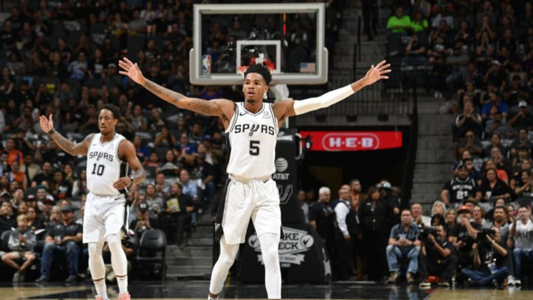 Dejounte Murray of the San Antonio Spurs celebrates against the New York Knicks. (Photos by Logan Riely/NBAE via Getty Images)