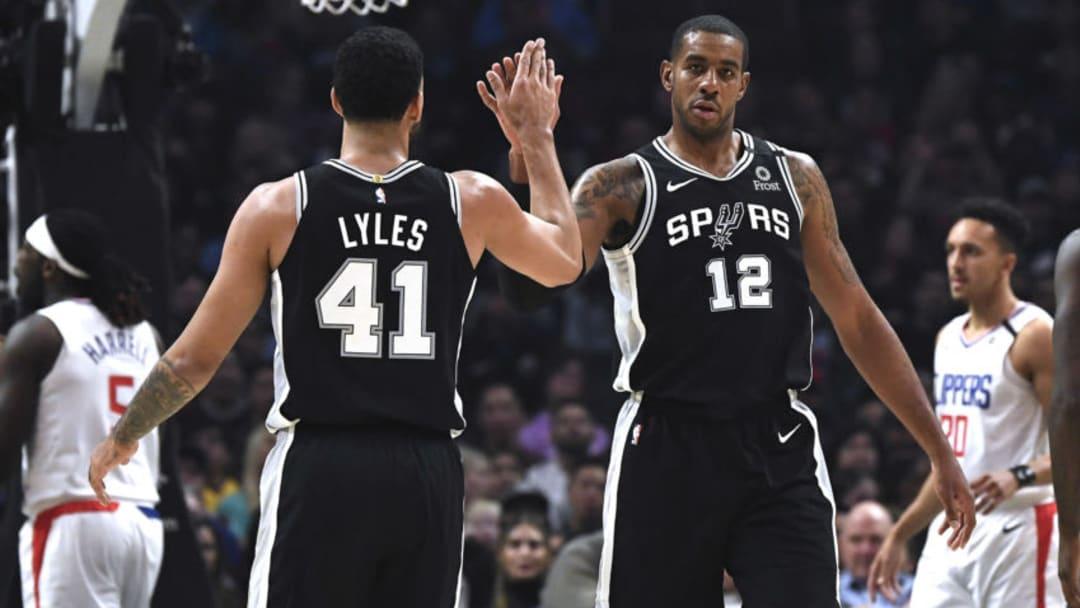 San Antonio Spurs Trey Lyles LaMarcus Aldridge (Photo by Kevork Djansezian/Getty Images)