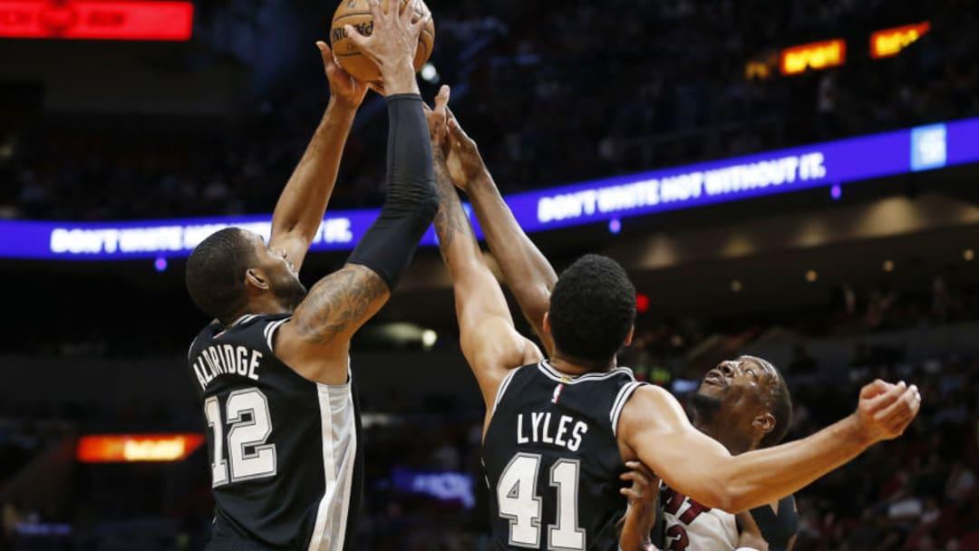 San Antonio Spurs LaMarcus Aldridge Trey Lyles (Photo by Michael Reaves/Getty Images)
