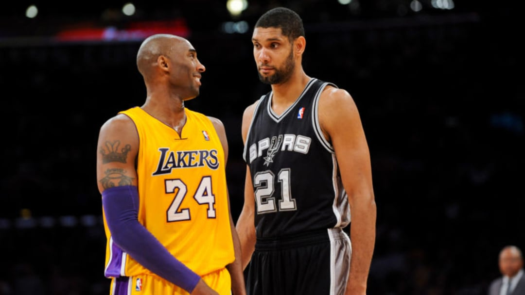 Tim Duncan of the San Antonio Spurs and Kobe Bryant of the Los Angeles Lakers. (Photo by Noah Graham/NBAE via Getty Images)