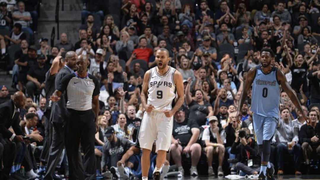 SAN ANTONIO, TX - MARCH 5: Tony Parker #9 of the San Antonio Spurs reacts to a score in the fourth quarrter of the game against the Memphis Grizzlies on March 5, 2018 at the AT&T Center in San Antonio, Texas. NOTE TO USER: User expressly acknowledges and agrees that, by downloading and or using this photograph, user is consenting to the terms and conditions of the Getty Images License Agreement. Mandatory Copyright Notice: Copyright 2018 NBAE (Photos by Mark Sobhani/NBAE via Getty Images)