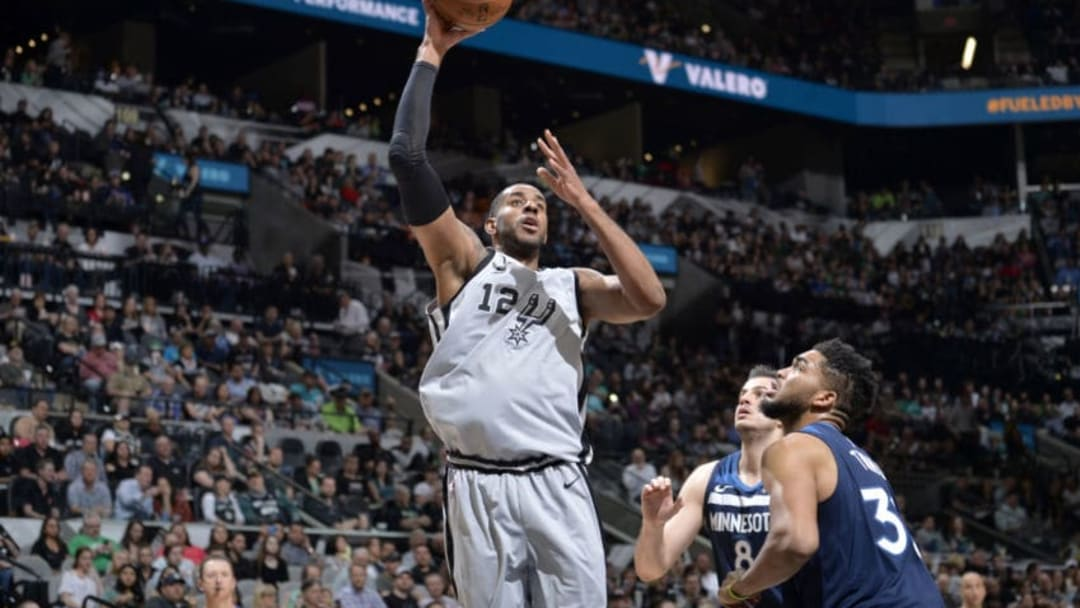 SAN ANTONIO, TX - MARCH 17: LaMarcus Aldridge #12 of the San Antonio Spurs shoots the ball against the Minnesota Timberwolves on March 17, 2018 at the AT&T Center in San Antonio, Texas. NOTE TO USER: User expressly acknowledges and agrees that, by downloading and/or using this photograph, user is consenting to the terms and conditions of the Getty Images License Agreement. Mandatory Copyright Notice: Copyright 2018 NBAE (Photos by Mark Sobhani/NBAE via Getty Images)