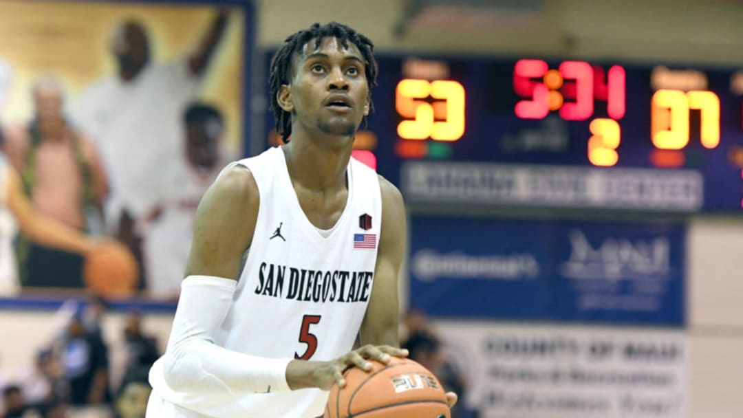 LAHAINA, HI - NOVEMBER 19: Jalen McDaniels #5 of the San Diego State Aztecs takes a foul shot during a first round game of Maui Invitational college basketball game against the Duke Blue Devils at the Lahaina Civic Center on November 19, 2018 in Lahaina Hawaii. (Photo by Mitchell Layton/Getty Images)