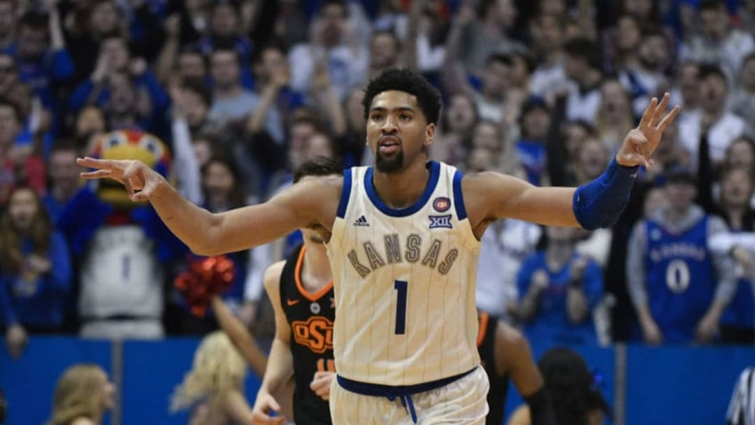 LAWRENCE, KANSAS - FEBRUARY 09: Dedric Lawson #1 of the Kansas Jayhawks reacts to making a basket against the Oklahoma State Cowboys at Allen Fieldhouse on February 09, 2019 in Lawrence, Kansas. (Photo by Ed Zurga/Getty Images)