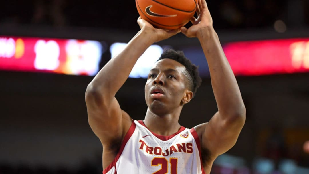 Jan 18, 2020; Los Angeles, California, USC USC Trojans forward Onyeka Okongwu (21) shoots a free throw against the Stanford Cardinal in the first half at Galen Center. Mandatory Credit: Jayne Kamin-Oncea-USA TODAY Sports