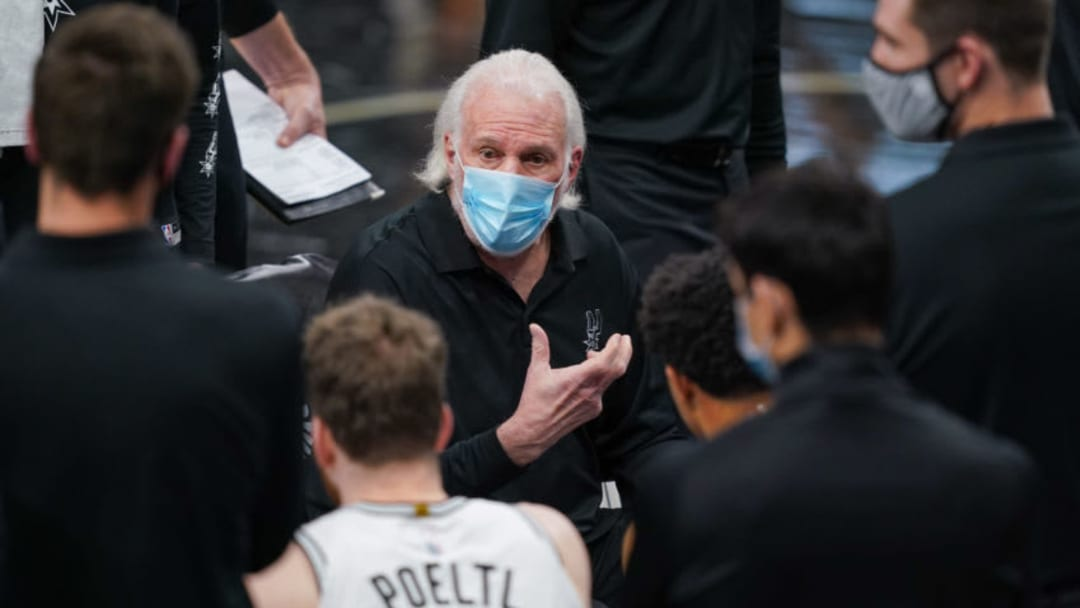Jan 16, 2021; San Antonio, Texas, USA; San Antonio Spurs head coach Gregg Popovich addresses his team in the second half against the Houston Rockets at the AT&T Center. Mandatory Credit: Daniel Dunn-USA TODAY Sports